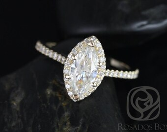 Sasha 10x5mm 14kt Yellow Gold Marquise FB Moissanite and Diamond Halo Engagement Ring (Other Center Stone Available Upon Request)