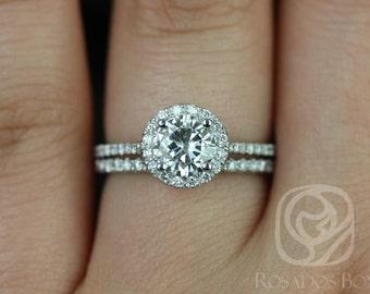 Rosados Box Kubian 6mm 14kt White Gold Round F1- Moissanite and Diamonds Halo Wedding Set