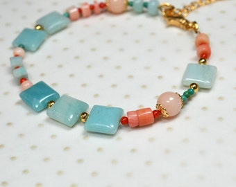 Aqua Amazonite bracelet Peach coral bracelet Semi precious gem stone beaded bracelet Modern boho bracelet Summer beach everyday jewelry