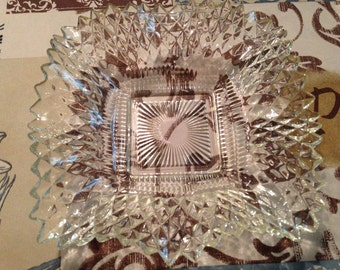 Vintage Indiana Glass Diamond Point Coupe Bowl Square Candy Dish Ruffled Edge