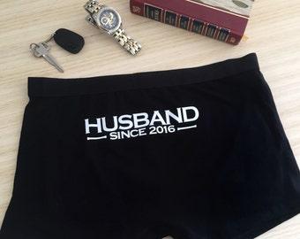 """Husband Since """"Year"""" underwear; Groom Underwear; Wedding Undies; personalised underwear; gift for groom;wedding anniversary gift for husband"""