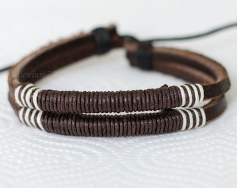 229 Men's brown leather bracelet Mens bracelet Ropes bracelet Wrapped bracelet Women bracelet Jewelry bracelet Gift For men & women