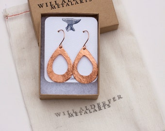 Copper Teardrop with Opening - Forged Copper