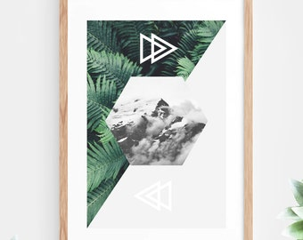 Geometric Printable Wall Art tropical Leaf Mountain Clouds Fern Plant Green Grey Instant Download Downloadable Poster Modern Contemporary