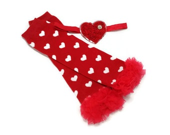 Valentine's Leg Warmer Headband Set, Red Heart Leg Warmers,  Red Heart Headband, Red Ruffle Leg Warmers, Girls Valentine Outfit