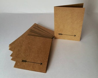 Set of 6 Note Cards with Arrow Detail