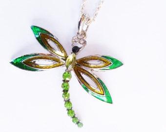Green dragonfly necklace, dragonfly necklace,dragonfly necklaces, dragonfly pendant, August birthstone,green dragonfly necklaces