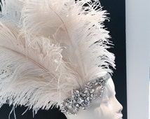 Gatsby style hair accessory-Flapper-1920s hair band-20s Headpiece-New Years-Mardi Gras-Headdress NY-Roaring 20s-Downon Abbey-Diner en Blanc