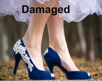 Damaged Blue Wedding Shoes US Size 10 - Blue Wedding Heels, Blue Heels, Bridal Shoes, Blue Pumps with Ivory Lace. US Size 10