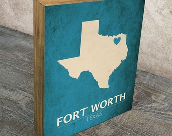 Fort Worth Texas Love Mounted Art Print - I Love Fort Worth Wood Block Wall Decor