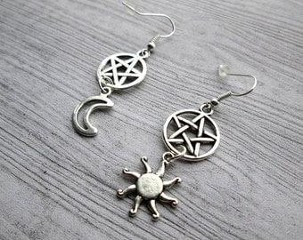 Sun & Moon Earrings, Sun and Moon Earrings, God and Goddess earrings, Crescent Moon, Sun, Pagan earrings, pentacle earrings, witch earrings,