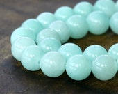 Mountain Jade Beads, Aqua, 10mm Round - 15 Inch Strand - eMJR-B04-10