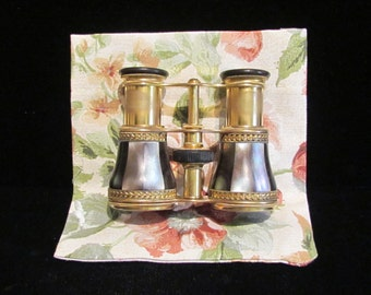 Antique Lemaire FI Paris Opera Glasses Mother of Pearl and Brass Binoculars Field Glasses Made in France Excellent Condition VERY RARE