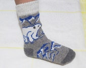 Woolen Knitted Men's Thick Warm Soft Socks With Ornament Polar Bear - Best Price