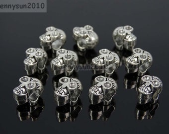 Skull Tibetan Silver Big Hole Connector Metal Spacer European Charm Beads Jewelry Design Findings Crafts #1