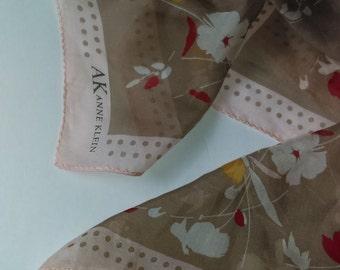 Anne Klein Pastels Pink Cocoa Floral Silk Scarf