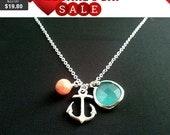 Anchor pendant Necklace, Graduation Gift,  Wedding Necklace, Statement,Beadwork,Pendant,Personalized,Choker Necklace