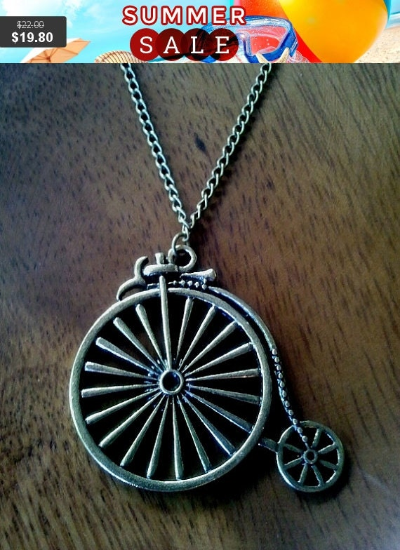 Antiqued Vintage Bronze Large Old-fashioned Bicycle Charm / Pendants Necklace