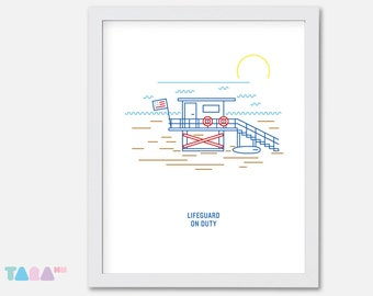 Lifeguard Beach Printable Wall Art, California Sunrising Illustration Poster, Miami, Children Room Decor, Instant Download Digital Print
