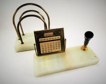 Vintage Desk Organizer, Pen Holder Marble Base, Perpetual Calendar, Letter Holder, Stone Base, Desk Accessories, Desk Set, Desk Calendar