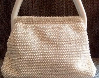 Vintage Lumered white beaded and rhinestone purse