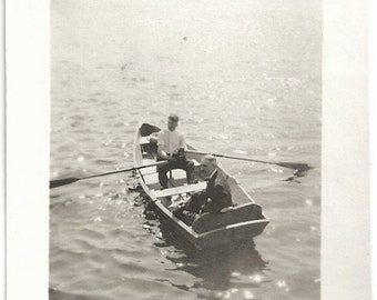 Od Photo 2 Men in Boat on Lake 1920s Photograph snapshot vintage