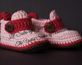 Crochet Baby Shoes, Crochet Baby Booties, Pink Baby Shoes, Pink Baby Booties, Baby Girl Shoes, Baby Girl Gift, Pink / Hot Pink / Brown