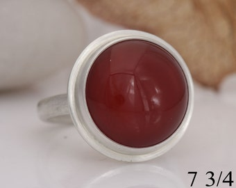 Carnelian ring, round red chalcedony and sterling silver ring, size 7 3/4, #706.