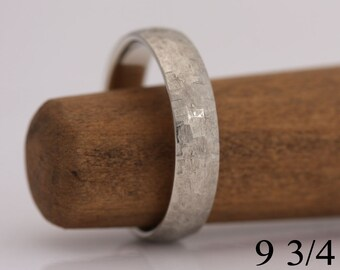 """Wedding band, 14k white gold, """"Rough and Refined"""" texture, size 9 3/4, #726."""