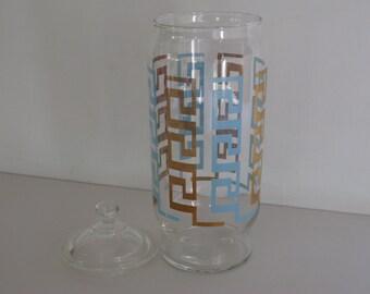 VINTAGE GLASS APOTHECARY Jar/Greek Key Design/Bathroom Storage Jar/Storage Jar/Glass Storage Jar/Kitchen Storage Jar/Glass Containers