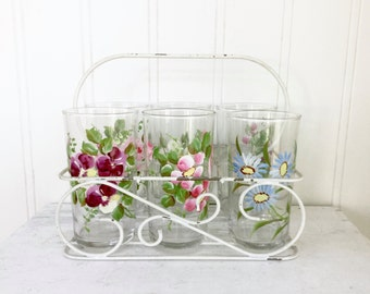 VINTAGE GLASSES CARRIER - Set of 6 Hand Painted Floral Drinking Glasses - Metal Rack - Shabby Chic Cottage