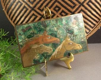 Azurite Malachite Inlaid Brass Box Mexico 60's Taxco Family Mixed Media Metal