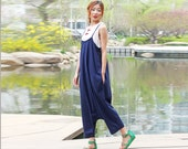 blue  linen maxi dress pants---a pants a dress black grey linen dress