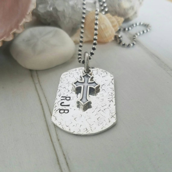 Personalized men's jewelry, Custom Dog Tag Necklace, Sterling silver dog tag, Double sided dog tag, Dad jewelry, Mens personalized dog tag
