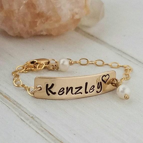 Gold baby bracelet, Baby name bracelet, 14kt Gold filled, Baby ID bracelet, Infant bracelet, childrens gold Name bracelet, Baby ID bracelet