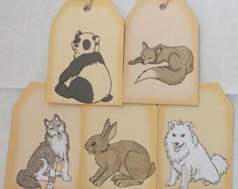animal gift tags - cute note - favor tags - panda fox dog wolf rabbit bunny