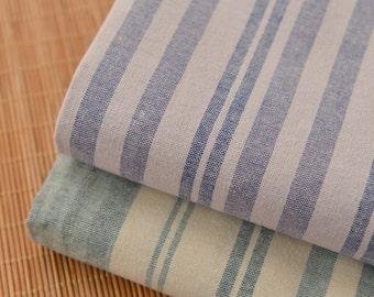 Yarn Dye Stripes Cotton Linen Fabric, Off White Denim Blue Green and White Stripes,  Irregular Stripes - 1/2 yard