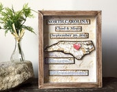 Anniversary Gift for Men - Anniversary Gift - First Anniversary Gift -  Shadow Box - Personalized Map Gift