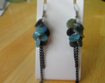 Blue/Grey Shell Disc Dangle Earrings with Black Chain