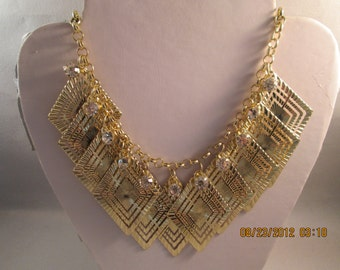 SALE Gold Tone Pendant Bib Necklace with Gold Tone Filigree Pendants and Clear Rhinestones