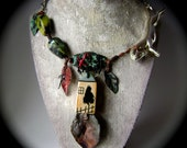 Away To My Heart My Home, assemblage necklace, narrative jewelry, ooak, asymmetrical necklace, verdigris, forged metal leave, anvilartifacts