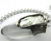 venus - keshi pearl and quartz crystal pendant - mermaid jewelry