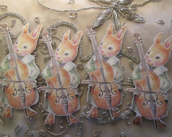 Bunny playing bass ornament gift tag,Plumb Sweet Woodland's bunny musicians, party decor