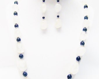 White Ice Gemstone Nugget Glass Beads Necklace/Bracelet/Earrings