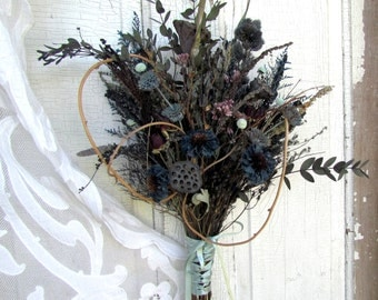 Victorian Wedding Dried Flower Bridal Bouquet Teal Cerulean Blue Slate Sage Fern Green Lotus Pod Tear Drop Eucalyptus Salvia Caspia Vine