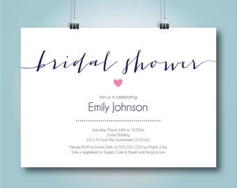 Cursive Elegant Bridal Shower Invitation, 5x7