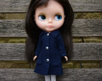 Blythe doll sized dark navy blue 100% boiled wool coat.  For Blythe, Dal, Pullip, Licca or similar scale dolls