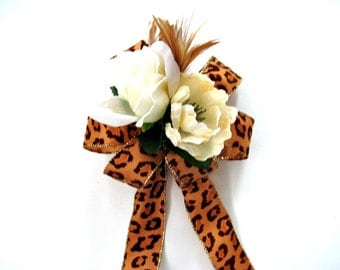 Gift wrap bow, Birthday gift bow, Masculine gift bow, Animal print bow for gift baskets, Feminine gift bow, Home and party decoration (HB92)