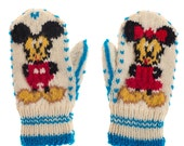 SALE 50 OFF Mickey mouse  Minnie Mouse Mittens  Gloves   Hand Knit from pure Merino Wool Kids Mittens Children Mittens Boys Mittens
