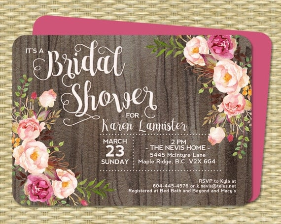 Bridal Shower Invitation Rustic Watercolor Roses